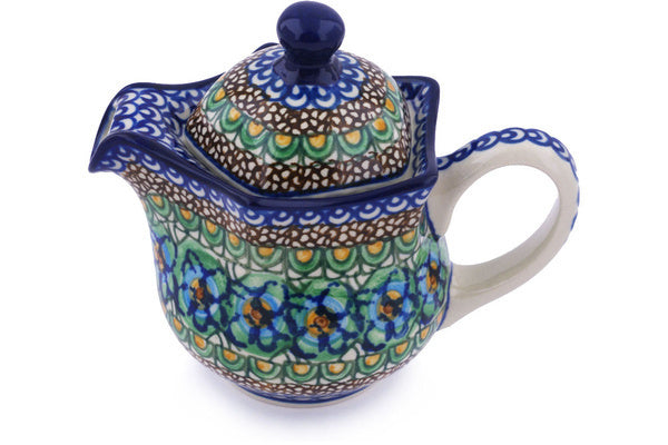 12 oz Creamer with Lid - Moonlight Blossom | Polish Pottery House