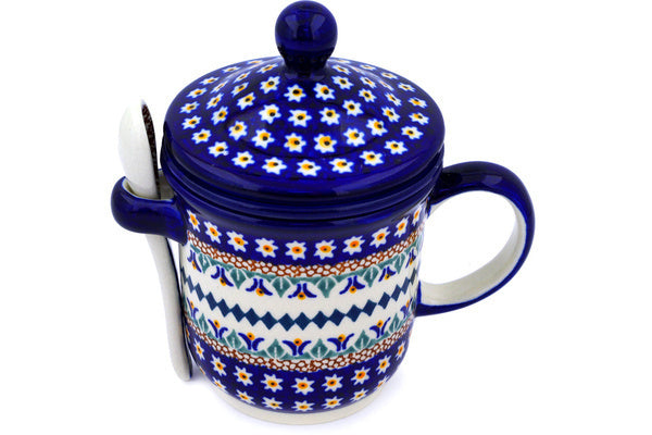 12 oz Brewing Mug with Spoon - Lotus | Polish Pottery House