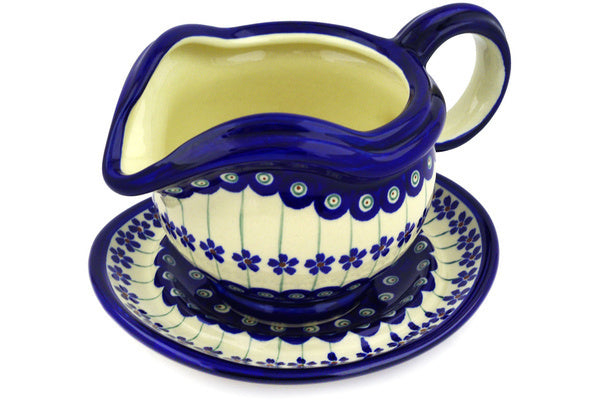 21 oz Gravy Boat with Saucer - Floral Peacock | Polish Pottery House