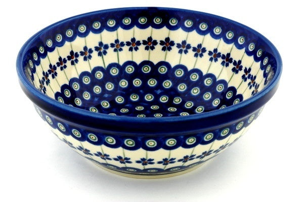 5 cup Serving Bowl - Floral Peacock | Polish Pottery House