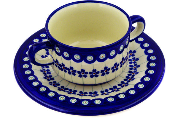 12 oz Soup Cup with Saucer - Floral Peacock | Polish Pottery House