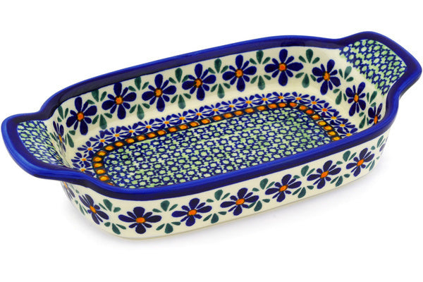 "5"" x 10"" Rectangular Baker with Handles - Emerald Mosaic 