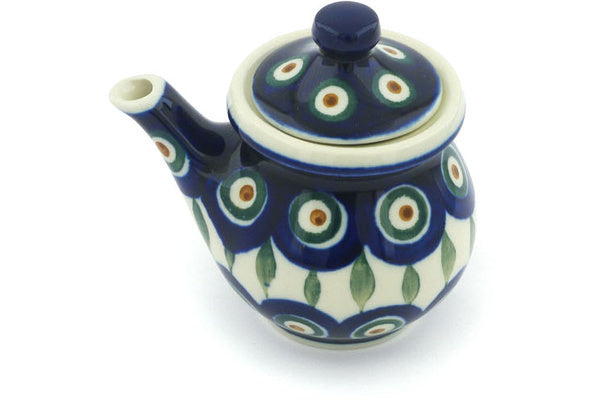 5 oz Creamer with Lid - Peacock | Polish Pottery House