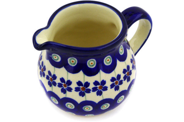 8 oz Creamer - Floral Peacock | Polish Pottery House