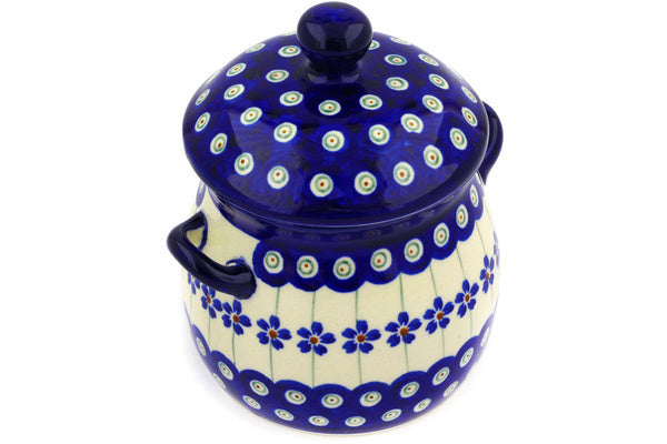 21 oz Jar with Lid and Handles - Floral Peacock | Polish Pottery House