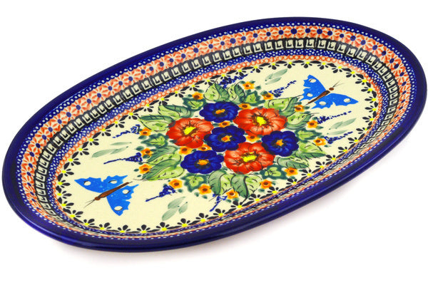 "12"" Oval Platter - Butterfly Garden 