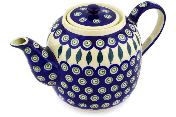 8 cup Tea Pot - Peacock | Polish Pottery House