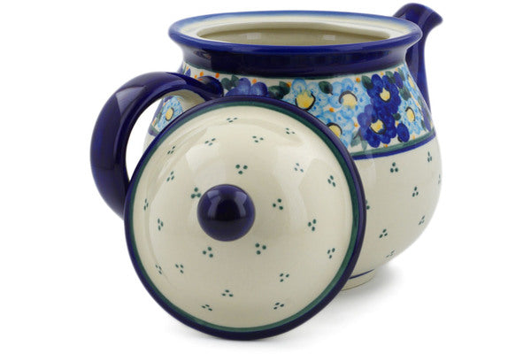 7 cup Tea Pot - Sapphire Garland | Polish Pottery House