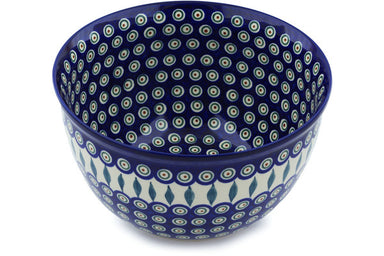 21 cup Serving Bowl - Blue Peacock | Polish Pottery House
