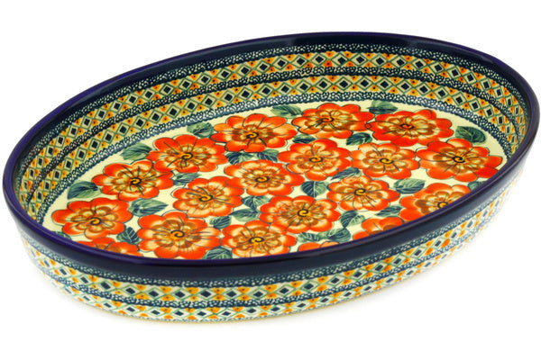 "14"" Oval Baker - Coral Blossom 
