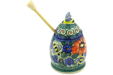 8 oz Honey Jar with Dipper - P5702A | Polish Pottery House