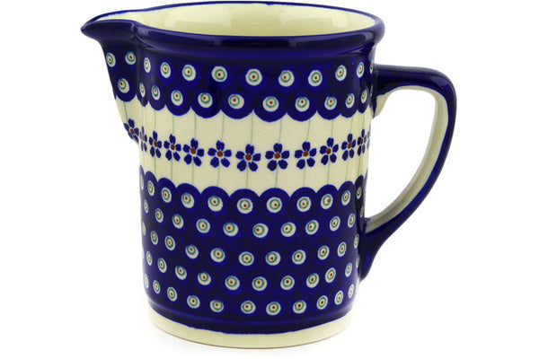 4 cup Pitcher - Floral Peacock | Polish Pottery House