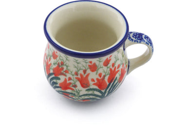 2 oz Espresso Cup - Crimson Bells | Polish Pottery House
