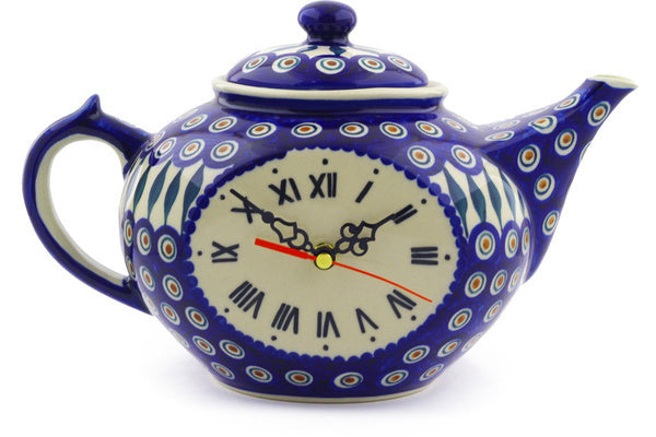 "12"" Teapot Clock - Peacock 