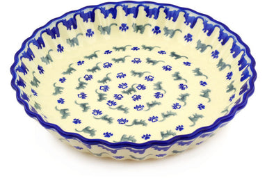 "10"" Fluted Pie Plate - Cats on Parade 