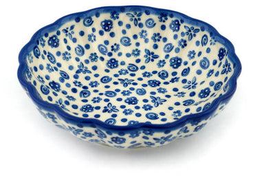 14 oz Scalloped Serving Bowl - Confetti | Polish Pottery House