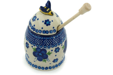 8 oz Honey Jar with Dipper - D1 | Polish Pottery House