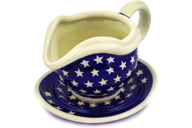 21 oz Gravy Boat with Saucer - 82 | Polish Pottery House