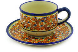 7 oz Cup with Saucer - Floral Spice | Polish Pottery House