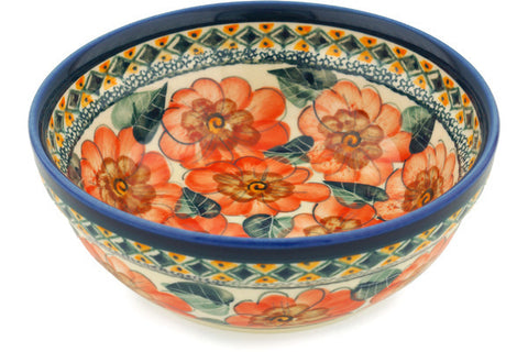 2 cup Cereal Bowl - Coral Blossom | Polish Pottery House