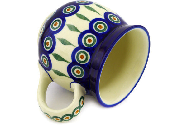 15 oz Bubble Mug - Blue Peacock | Polish Pottery House