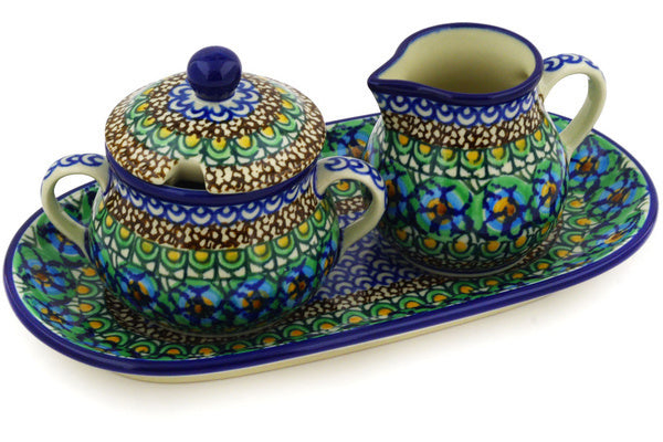 Sugar Bowl and Creamer Set - Moonlight Blossom | Polish Pottery House