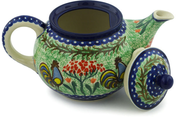 4 cup Tea Pot - Blue Rooster | Polish Pottery House