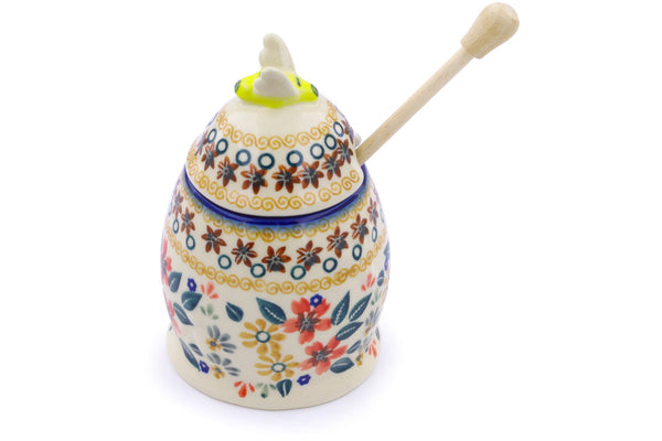 8 oz Honey Jar with Dipper - P9336A | Polish Pottery House