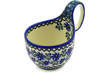16 oz Soup Cup with Handle - Blue Daisy | Polish Pottery House