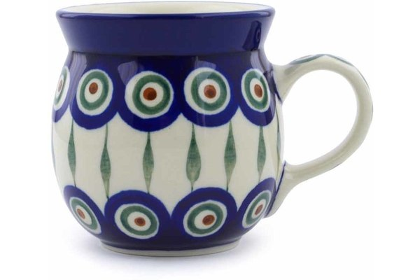 8 oz Bubble Mug - Blue Peacock | Polish Pottery House