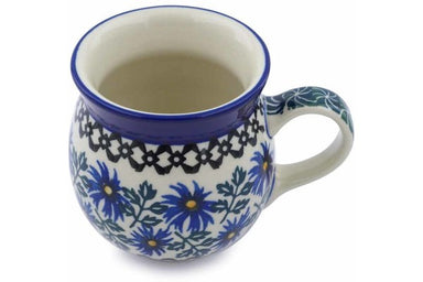 8 oz Bubble Mug - Blue Daisy | Polish Pottery House