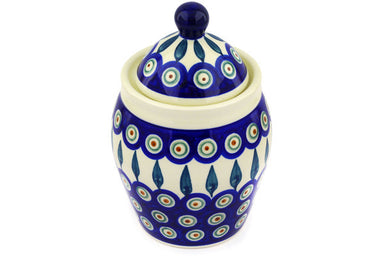"7"" Jar with Lid - Peacock 