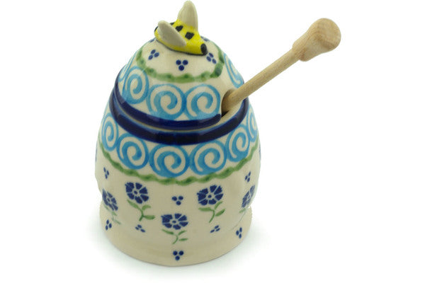 9 oz Honey Jar with Dipper - D35 | Polish Pottery House