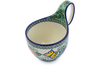 16 oz Soup Cup with Handle - Spring Garden | Polish Pottery House