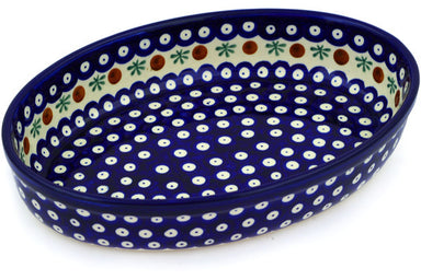 "11"" Oval Baker - Blue Old Poland 