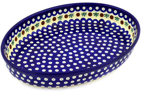 "14"" Oval Baker - Blue Old Poland 