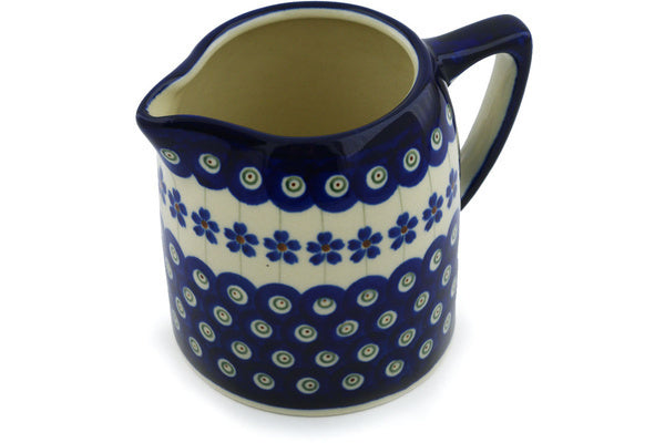 20 oz Pitcher - Floral Peacock | Polish Pottery House
