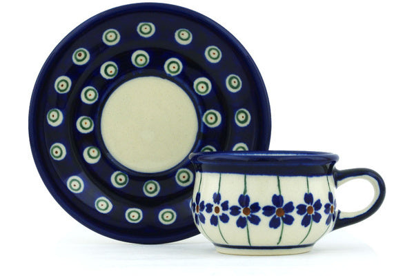 2 oz Espresso Cup with Saucer - Floral Peacock | Polish Pottery House