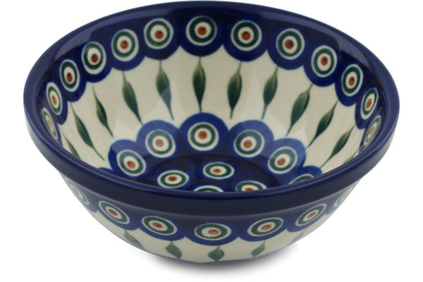3 cup Cereal Bowl - Blue Peacock | Polish Pottery House