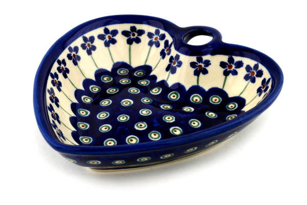 9 oz Heart Bowl - Floral Peacock | Polish Pottery House