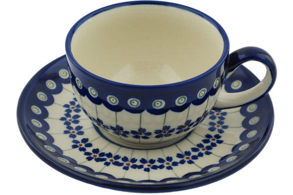 8 oz Cup with Saucer - Floral Peacock | Polish Pottery House