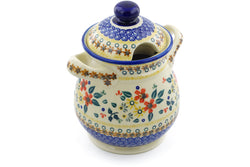 6 cup Jar with Lid and Handles - P9336A | Polish Pottery House