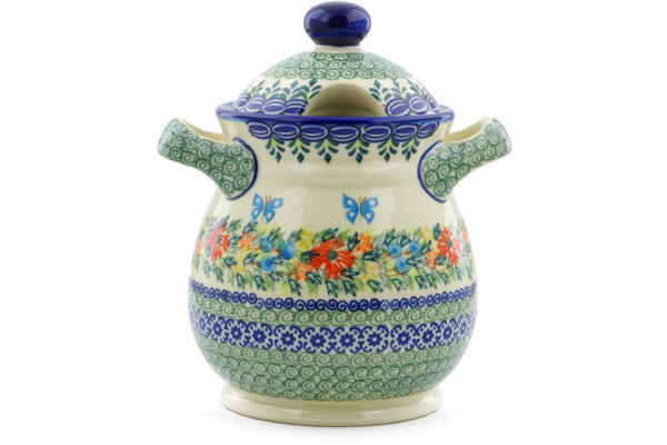 6 cup Jar with Lid and Handles - D156 | Polish Pottery House