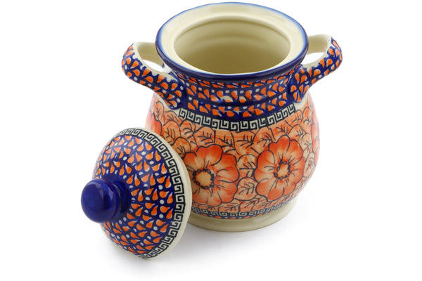 6 cup Jar with Lid and Handles - D92 | Polish Pottery House