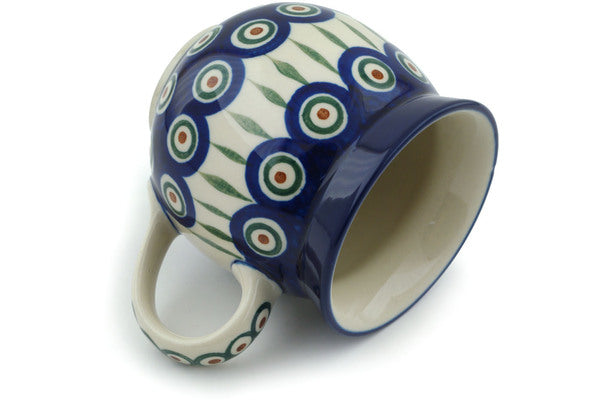 12 oz Bubble Mug - Blue Peacock | Polish Pottery House