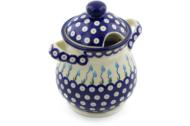 6 cup Jar with Lid and Handles - D107 | Polish Pottery House
