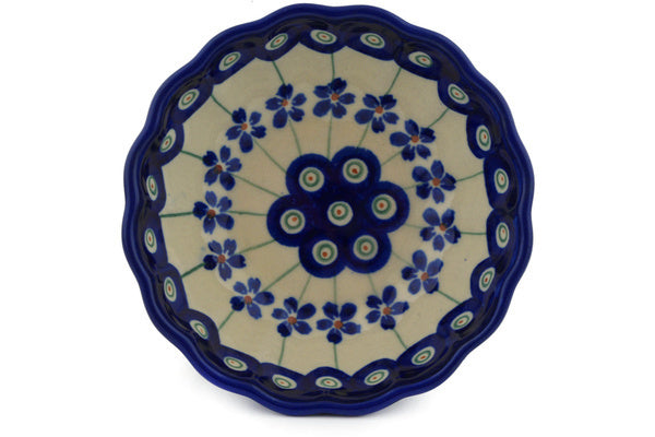 7 oz Scalloped Bowl - Floral Peacock | Polish Pottery House