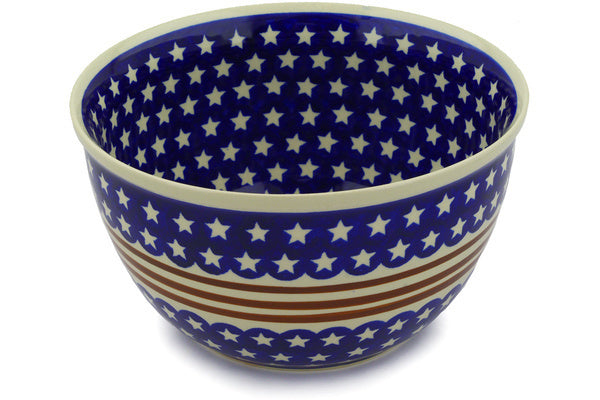 21 cup Serving Bowl - Stars & Stripes | Polish Pottery House