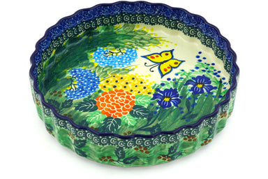 "8"" Fluted Pie Plate - Spring Garden 