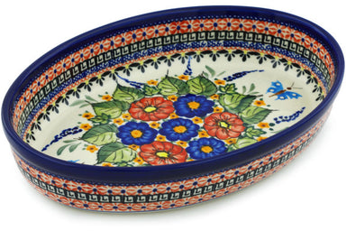 "11"" Oval Baker - Butterfly Garden 